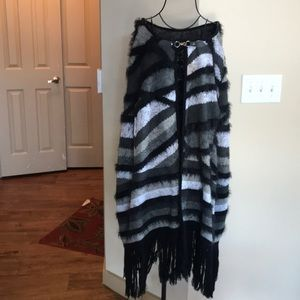 Black, White and Gray sweater cape